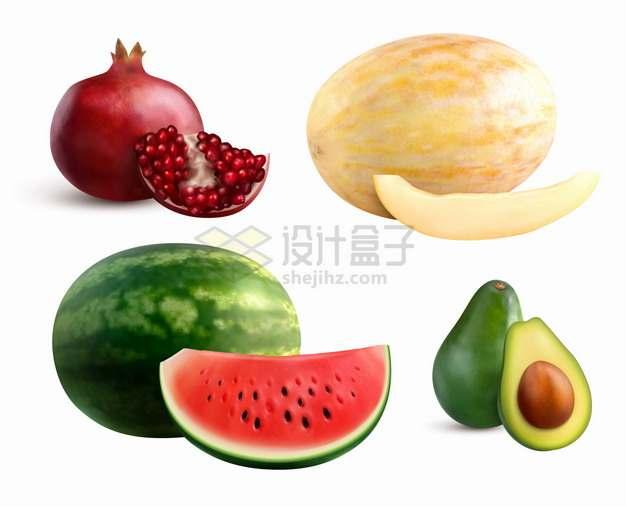 切开的石榴哈密瓜西瓜牛油果美味水果png图片素材