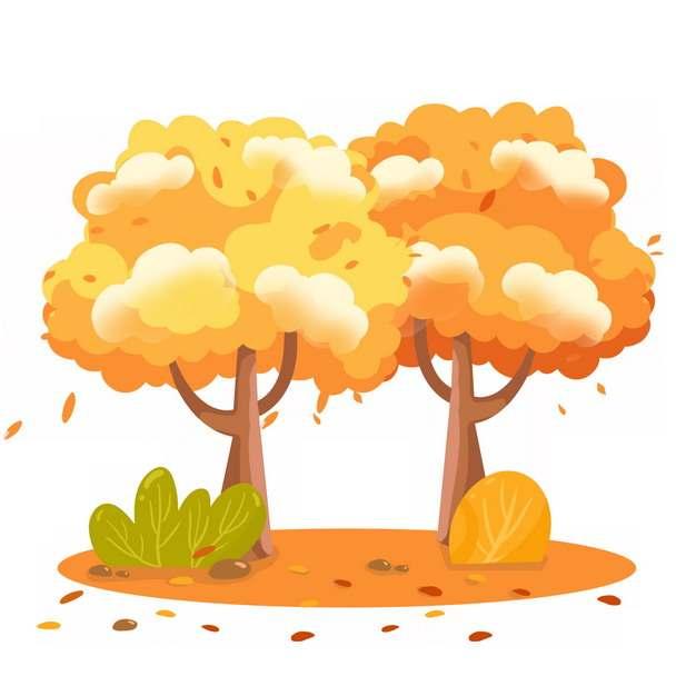 秋天金黄色的卡通大树插画862862png图片素材