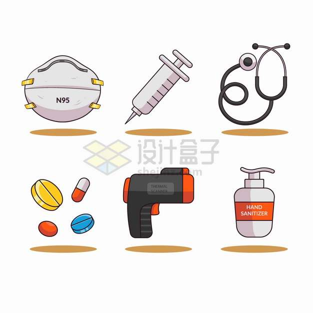 N95口罩注射器听诊器药品额温枪消毒液等卡通医疗用品png图片素材