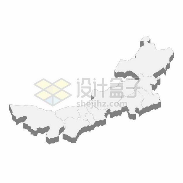 内蒙古自治区地图3D立体阴影行政划分地图115487png矢量图片素材 科学地理-第1张