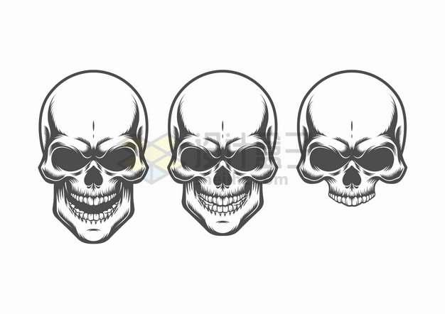 3款黑色骷髅头插画png图片素材