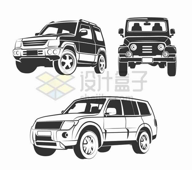 3款黑白色SUV越野车插画png图片素材