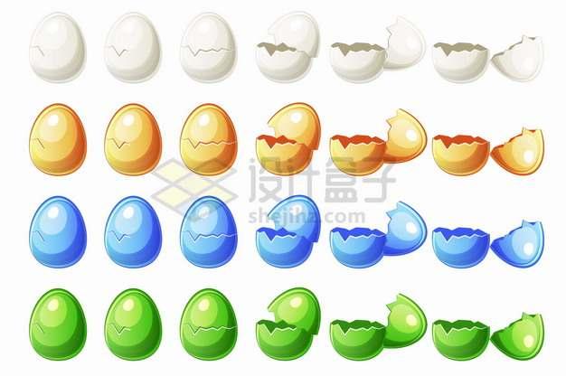 白色黄色蓝色绿色鸡蛋破裂的过程png图片素材