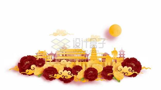 彩色剪纸叠加中国风南京城市风景880025png矢量图片素材
