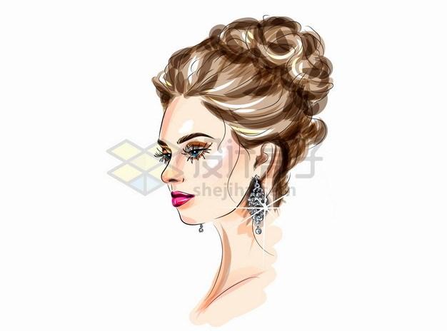 美丽的美女化妆美妆美发彩绘插画png图片素材 人物素材-第1张