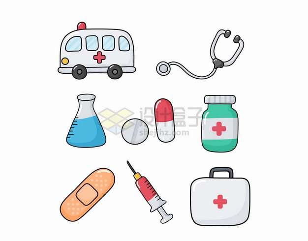 卡通救护车听诊器锥形瓶药品创口贴注射器和医药箱png图片素材
