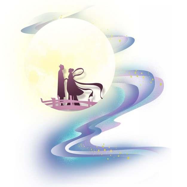 中国风月亮祥云图案和鹊桥幽会的七夕节牛郎织女838135png图片素材