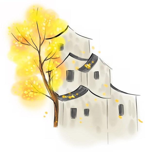 秋天枯黄的大树和江南水乡的房子水墨画插画764444png图片素材 建筑装修-第1张