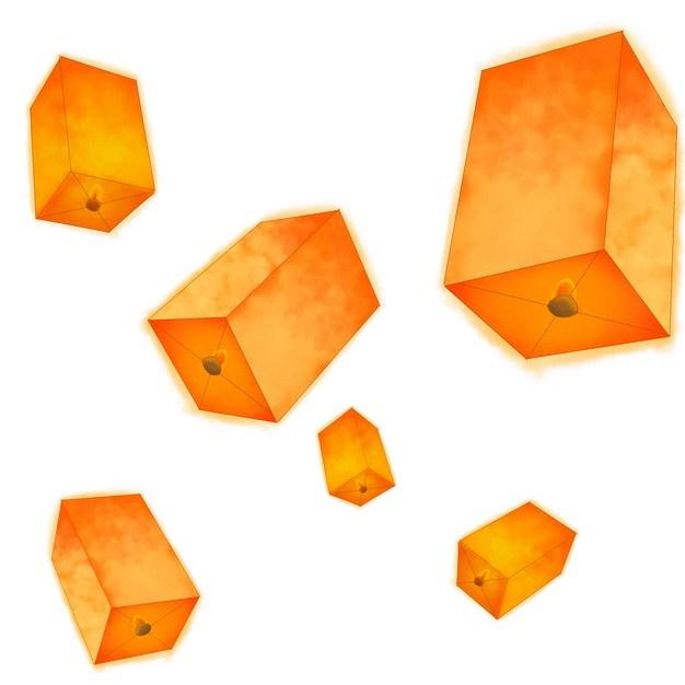 各种橙色的方形孔明灯871306png图片素材 装饰素材-第1张