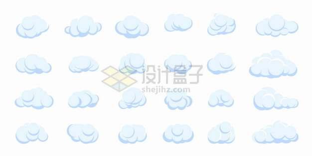 24款淡蓝色卡通云朵白云png图片素材