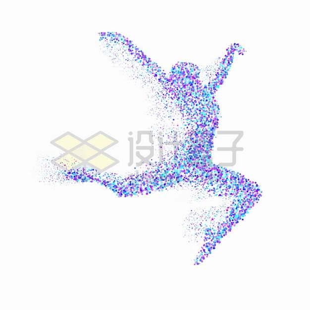 蓝色紫色圆点组成的跳舞的女人芭蕾舞蹈png图片素材