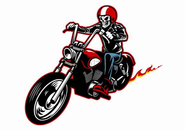 戴着红色头盔的骷髅骑着哈雷摩托车卡通漫画插画png图片素材