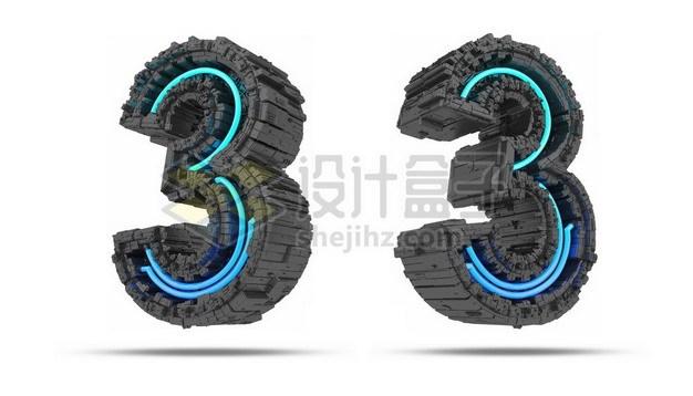 C4D风格蓝色灯光黑色科幻3D立体数字三3艺术字体148711psd/png图片素材 字体素材-第1张