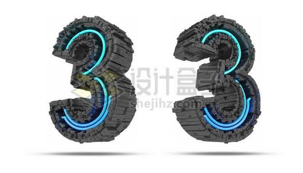 C4D风格蓝色灯光黑色科幻3D立体数字三3艺术字体148711psd/png图片素材