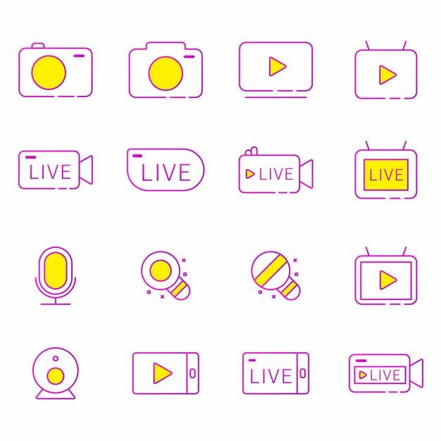 16款紫色直播线条图标113533AI矢量图片素材 图标-第1张