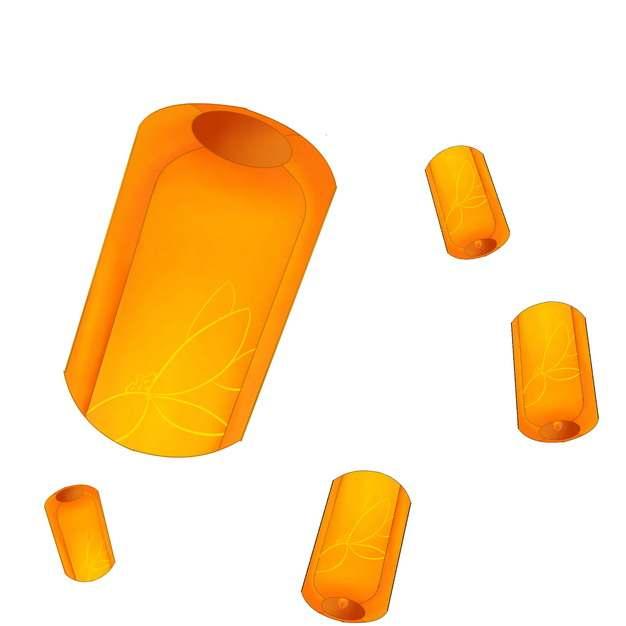 各种橙色的圆柱形孔明灯463648png图片素材