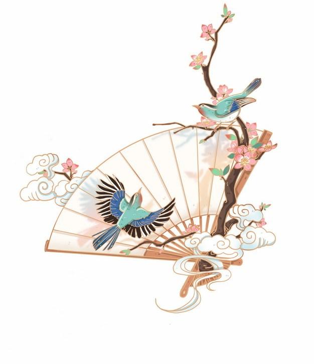 中国风国画折扇和梅花枝头上的喜鹊小鸟309475png图片素材 节日素材-第1张