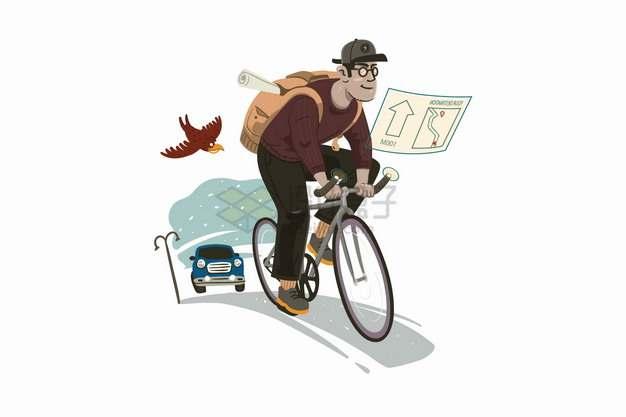 骑自行车上班的卡通男人png图片素材