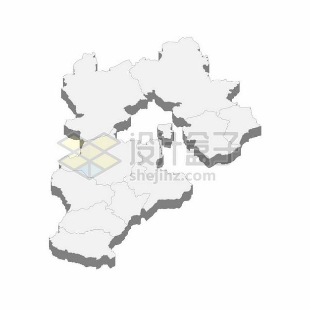 河北省地图3D立体阴影行政划分地图313668png矢量图片素材 科学地理-第1张
