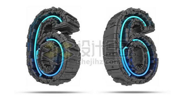 C4D风格蓝色灯光黑色科幻3D立体数字六6艺术字体256132psd/png图片素材 字体素材-第1张