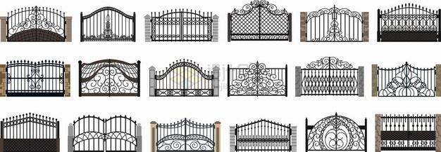 18款复古造型的铁栅栏围墙png图片素材 建筑装修-第1张