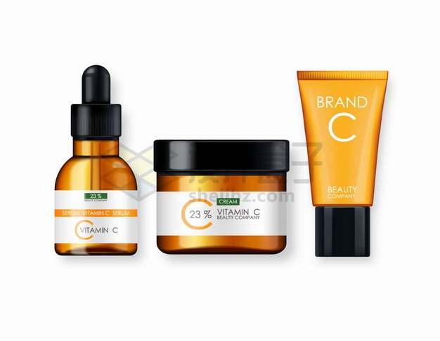 金色包装维生素C精华液化妆品护肤品香精等png图片素材