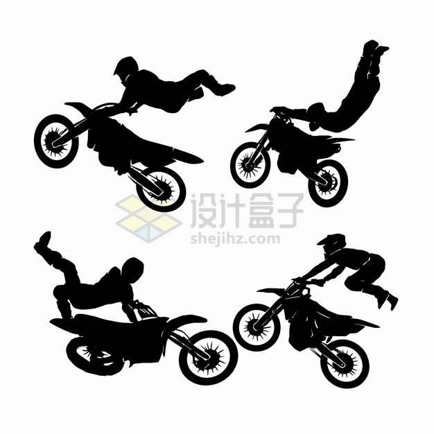 4款腾飞中的越野摩托车特技表演剪影png图片素材