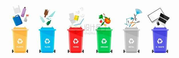 6种颜色的垃圾桶垃圾分类手抄报png图片素材