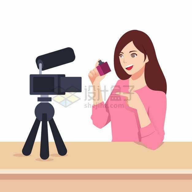 对着摄像头介绍产品的美女主播淘宝直播扁平插画png图片素材