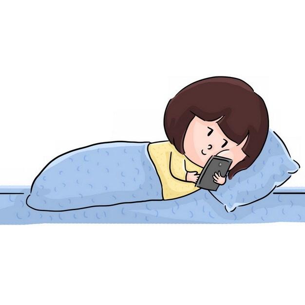 卡通女孩睡觉玩手机129416png图片素材 休闲娱乐-第1张