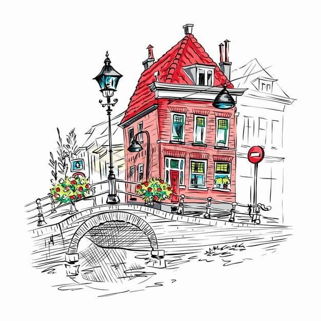 红房子和拱桥欧洲小镇城市风景水彩插画png图片素材