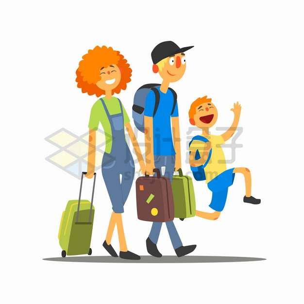 拎着行李箱的爸爸妈妈和儿子幸福一家三口出去旅行png图片素材
