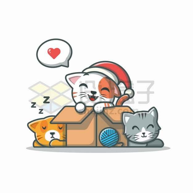 MBE风格趴在箱子上玩耍睡觉的卡通猫咪png图片素材