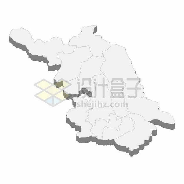 江苏省地图3D立体阴影行政划分地图955270png矢量图片素材