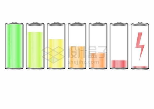 各种电量的彩色电池图标247746png矢量图片素材