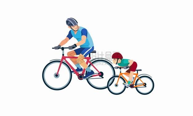卡通爸爸和儿子骑自行车父亲节亲子关系png图片素材 人物素材-第1张