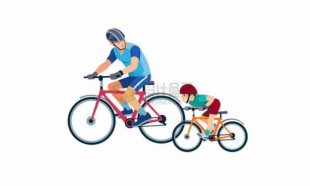 卡通爸爸和儿子骑自行车父亲节亲子关系png图片素材