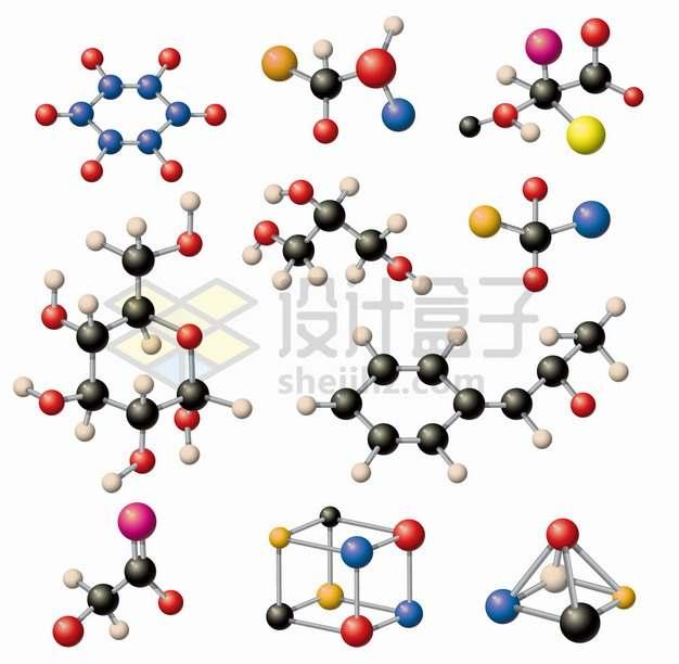 各种分子结构图彩色小球构成png图片素材
