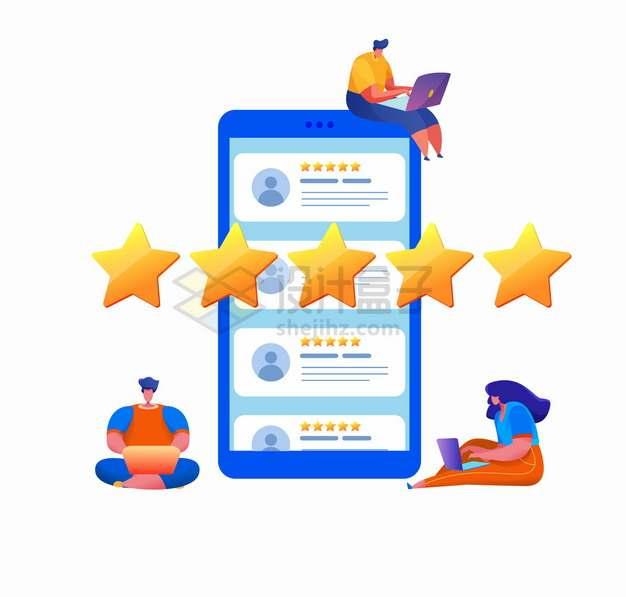 卡通年轻人用手机发送五星好评和评价png图片素材