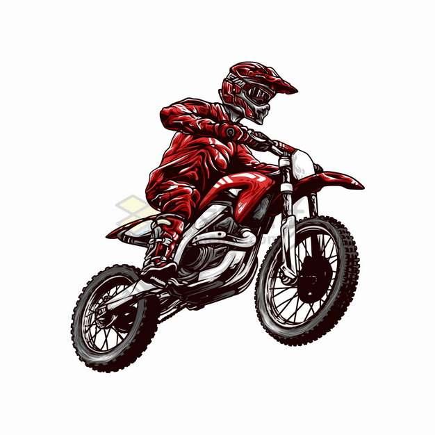 红色衣服的骑手骑越野摩托车特技表演卡通漫画插画png图片素材