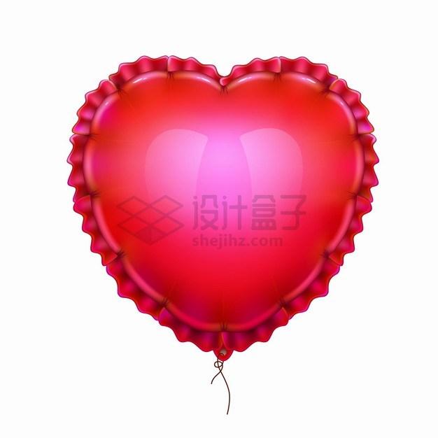 红色心形气球褶皱边缘情人节png图片素材 漂浮元素-第1张
