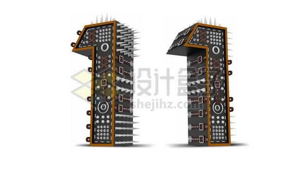 C4D风格尖刺黑色3D立体数字一1艺术字体146869psd/png图片素材