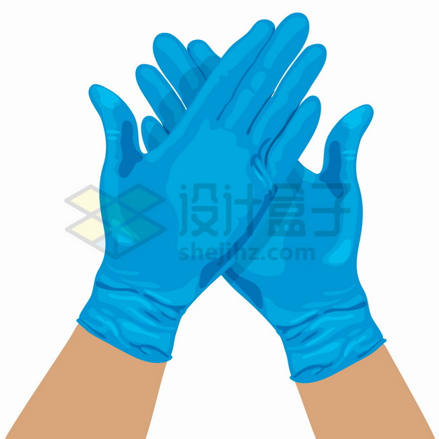 戴手上的医用手套交叉在一起png图片素材 健康医疗-第1张