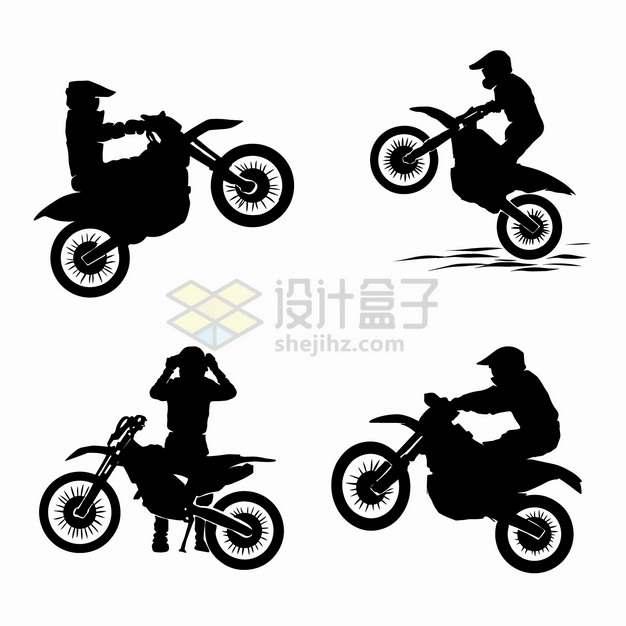 4款越野摩托车特技表演剪影png图片素材