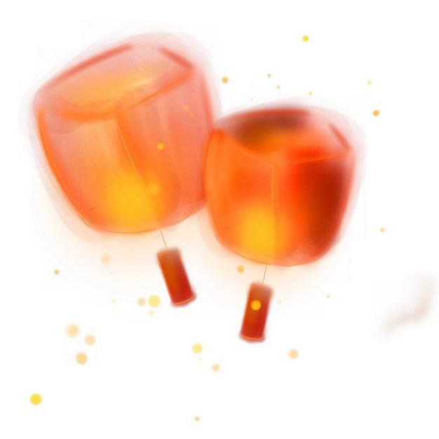 2个红色灯笼孔明灯983015png图片素材 节日素材-第1张