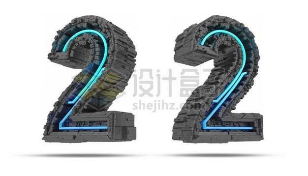 C4D风格蓝色灯光黑色科幻3D立体数字二2艺术字体835583psd/png图片素材