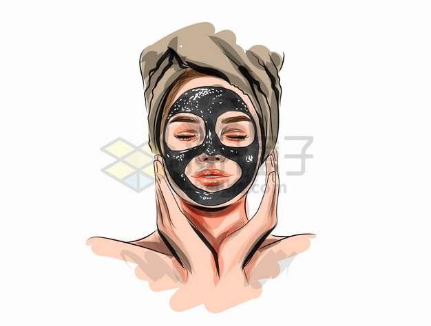 在脸上涂抹面膜泥的美女化妆美妆彩绘插画png图片素材