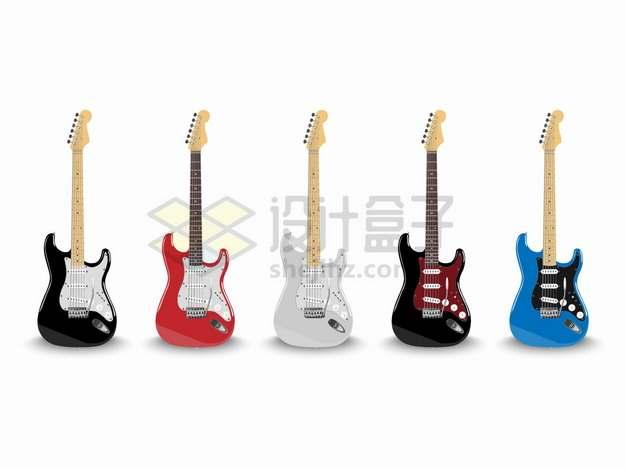 5种颜色的电吉他音乐乐器png图片素材
