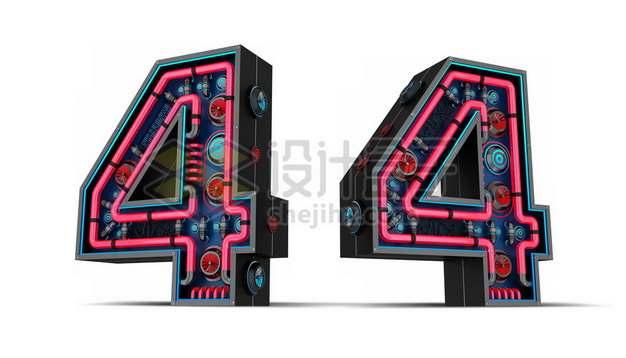C4D风格红黑色3D立体数字四4艺术字体715539psd/png图片素材