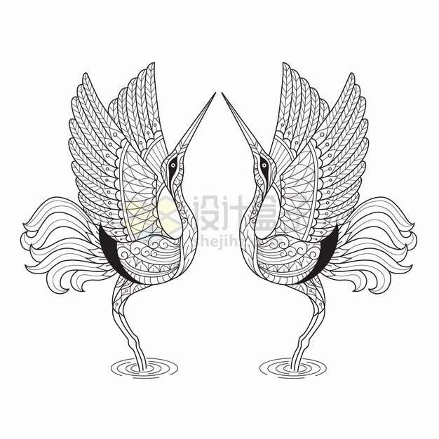 跳舞的仙鹤抽象图案线条插画png图片素材